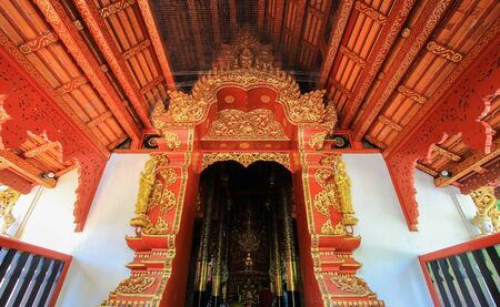 pra: beautiful arts and architecture at Wat Pra Singh - a Buddhist temple in Chiang Rai Province, northern Thailand.