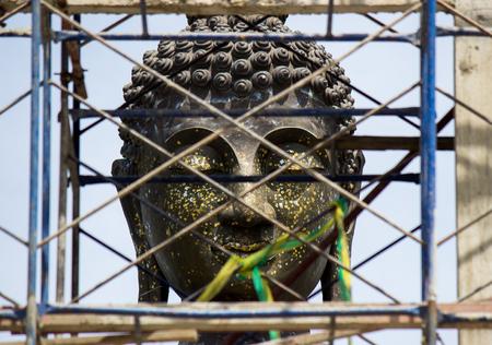 ordination: Big Buddha statue at new ordination hall(under constructions) of Champa temple,Taling Chan,Bangkok,Thailand