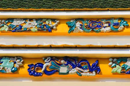 ordination: beautiful Chinese arts and decorations at the ordination hall of Wat Rajorasaram,Bangkok,Thailand.This is a public temple.