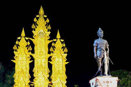king of thailand: Night scene of King Meng Rai Monument,Chiang Rai,northern Thailand