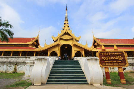 sunny day at Mandalay Royal Palace,Myanmar.Non English texts mean The Mandalay Royal Palace