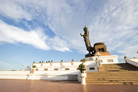 nakhon pathom: Buddha statue with blue sky at Phutthamonthon(Buddhist park in Phutthamonthon district,Nakhon Pathom Province of Thailand) Editorial