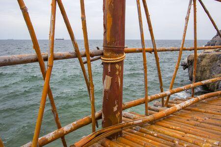 Bamboo bridge at Koh Sichang,Chonburi,Thailand Stock Photo
