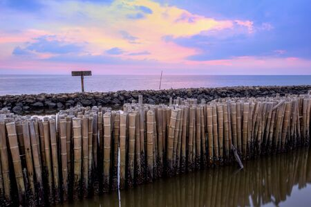 Evening sky and rows of bamboo sticks in the sea near Matchanu Shrine,Phanthai Norasing,Mueang Samut Sakhon District,Samut Sakhon,Thailand.