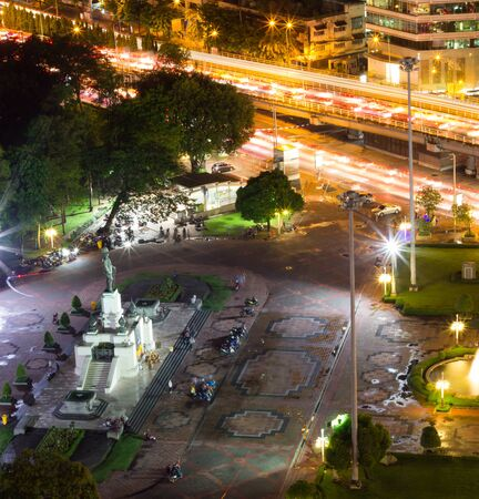 lumpini: Birds Eye View of King Rama VI Monument at the gate to Lumpini Park,Rama IV Road,Lumphini,Pathumwan,Bangkok,Thailand at night. Editorial