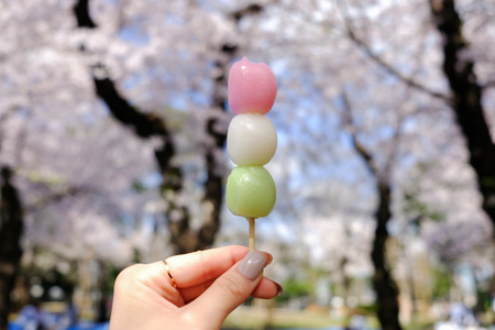 Hanami dango has three colors,traditionally made during Sakura-viewing season:Asukayama Park in Kita,Tokyo,Japan