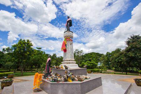 korat: Thao Suranari statue with beautiful sky at Thao Suranari Park,Ban Nong Sarai,Pak Chong,Nakhon Ratchasima,Thailand. Stock Photo