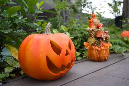 Jack-o-lanterns or Halloween pumpkins.One of the symbols of Halloween