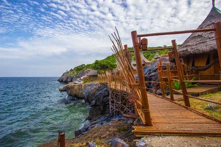 Bamboo bridge and Borneo style huts at Koh Sichang,Chonburi,Thailand