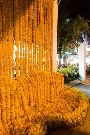 Beautiful flower arrangement in flower for father activity in order to be aware of His Majesty King Bhumibol Adulyadej at Pak Klong Market,Bangkok,Thailand on October23,2017.African Marigolds