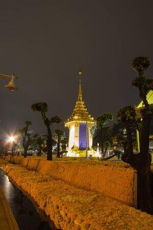 Replica of the Royal Crematorium for the Royal Cremation of His Majesty King Bhumibol Adulyadej at Memorial Bridge(Phra Phuttayotfa Bridge) Park,Bangkok,Thailand on October23,2017.