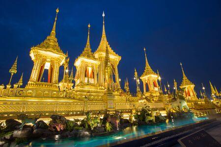 Royal Cremation Exhibition,Sanam Luang Ceremonial Ground,Bangkok,Thailand on November7,2017: Royal Crematorium for the Royal Cremation of His Majesty King Bhumibol Adulyadej Editorial