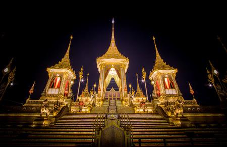 Exhibition on royal cremation ceremony,Sanam Luang Ceremonial Ground,Bangkok,Thailand on November7,2017: Royal Crematorium for the Royal Cremation of His Majesty King Bhumibol Adulyadej
