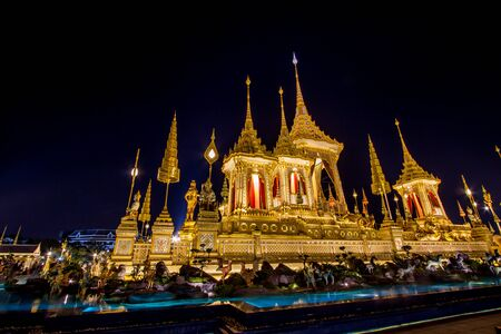 Exhibition on royal cremation ceremony,Sanam Luang Ceremonial Ground,Bangkok,Thailand on November7,2017: Royal Crematorium for the Royal Cremation of His Majesty King Bhumibol Adulyadej