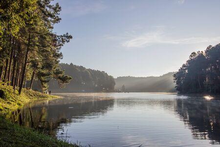 Romantic morning scenery of Huai Pang tong Reservoir and pine forests at Pang Oung,Pang Tong Royal Development Project,Ban Ruam Thai,Mae Hong Son,Northern Thailand