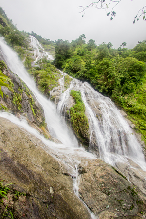 Part of Pitugro Waterfall(Petro Lo Su) or Heart Waterfall,the highest waterfall in Thailand,located in Umphang Wildlife Sanctuary,Tak Province.