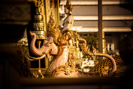 Exhibition on royal cremation ceremony of His Majesty King Bhumibol Adulyadej,Sanam Luang Ceremonial Ground,Bangkok,Thailand on November25,2017:Sculptures of mythical creatures surround the Royal Crematorium