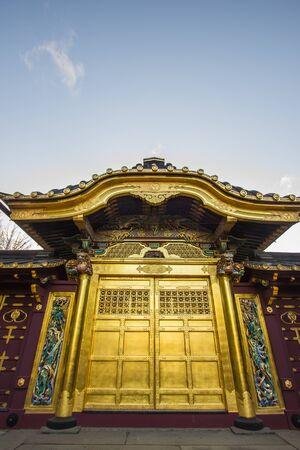 Ueno Park(Ueno Koen),Taito,Tokyo,Japan on April 7,2017:Karamon of Ueno Toshogo Shrine
