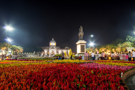 Royal winter festival,Un Ai Rak Khlai Khwam Nao,at Royal Plaza,Dusit Palace and Sanam Suea Pa,Bangkok,Thailand on February16,2018:Equestrian Statue of King Chulalongkorn and Anantasamakhom Throne Hall.