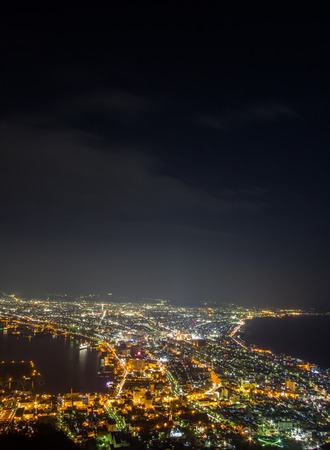 Hakodate,Hokkaido,Japan on April 28,2018: Spectacular views of Hakodate city from Mount Hakodate.One of Japans three best night views. 에디토리얼