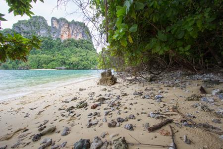 Crystal clear sea water,pleasant and shady atmosphere at Phak Bia Island,Ao Luek District, Krabi,Thailand