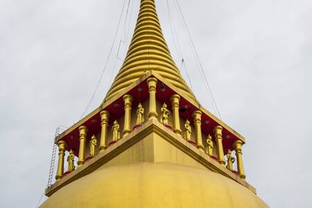 Great golden pagoda of Wat Prong Arkad in Amphoe Bang Nam Priao,Chachoengsao Province,Thailand.(close up)