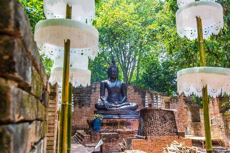 Phae, Ratchaburi, Thailand - April 13, 2019: Beautiful Buddha image of Ayutthaya period at NaSatta Thai Park (previously called Siam Cultural Park).