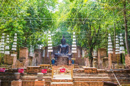 Bang Phae,Ratchaburi province,Thailand on April 13,2019:Beautiful Buddha image of Ayutthaya period at NaSatta Thai Park (previously called Siam Cultural Park).