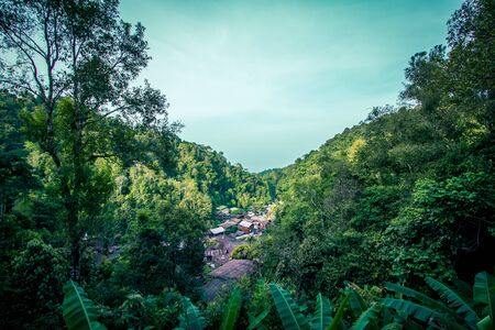 Beautiful panoramic landscape of  Ban Mae Kampong,a peaceful Village in Mae On sub-district,Chiangmai,northern Thailand.