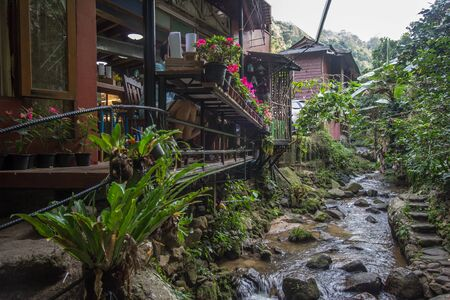 Chiang Mai, Thailand - January 12, 2019 : Fresh and cool streams running through a coffee shop in Mae Kampong village 報道画像