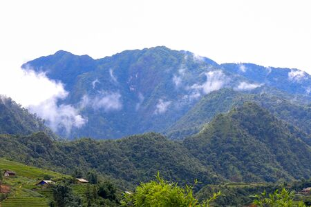 Beautiful mountains and valleys around Cat Cat village in Sapa,Lao Cai Province,north-west Vietnam. Foto de archivo - 130724552