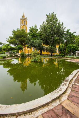 Ayutthaya, Thailand on August 21, 2018: Beautiful art and architecture of Saint Joseph Catholic Church on the south bank of the Chao Phraya River.