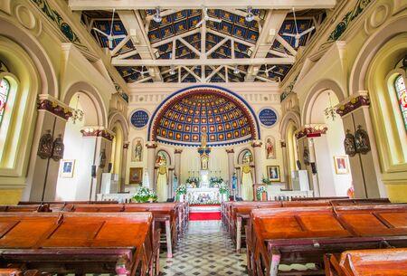 Ayutthaya, Thailand on August 21, 2018: Interior of Saint Joseph Catholic Church.
