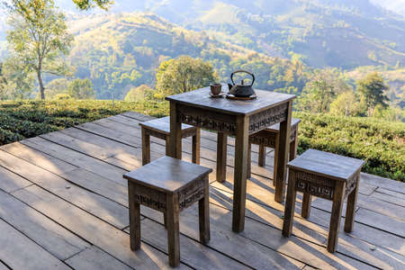 Chiang Rai province,Northern Thailand on January 17,2020:Chinese style tea table with magnificent views at Wang Put Tan Tea Plantation,Doi Mae Salong. Redactioneel