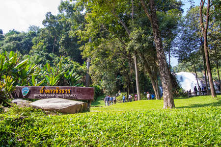 Chom Thong District,Chiang Mai province,Northern Thailand on January 13,2019:Tourists enjoyed beautiful Wachirathan Waterfall in Doi Inthanon National Park. 스톡 콘텐츠 - 147688390