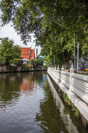 Phasi Charoen district,Bangkok,Thailand on May29,2020:Waterside scene along Phasi Charoen Canal at Wat Paknam Phasi Charoen.