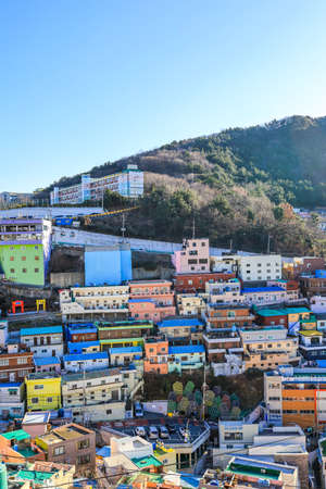 Gamcheon-dong,Saha District,Busan,South Korea on December31,2019:colorful scene of Gamcheon Culture Village. 스톡 콘텐츠 - 148475328