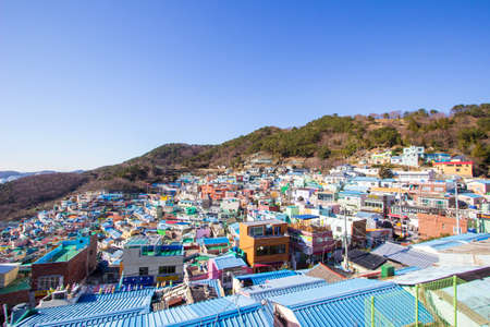 Gamcheon-dong,Saha District,Busan,South Korea on December31,2019:colorful scene of Gamcheon Culture Village. 스톡 콘텐츠 - 148475335