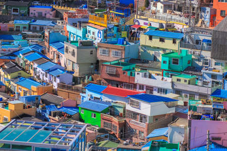 Gamcheon-dong,Saha District,Busan,South Korea on December31,2019:colorful scene of Gamcheon Culture Village. 스톡 콘텐츠 - 148475340