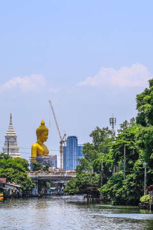 Bangkok,Thailand on May1,2020:Large golden Buddha image named 에디토리얼