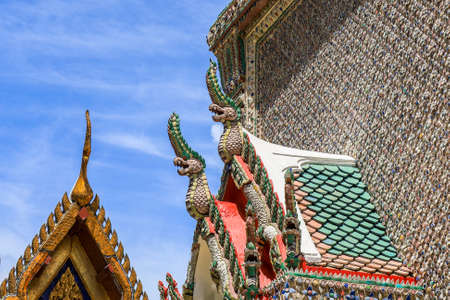 Phra Nakhon District,Bangkok,Thailand on June10,2020:Beautiful art and architecture of the Belfry at Wat Phra Kaew (Wat Phra Si Rattana Satsadaram).