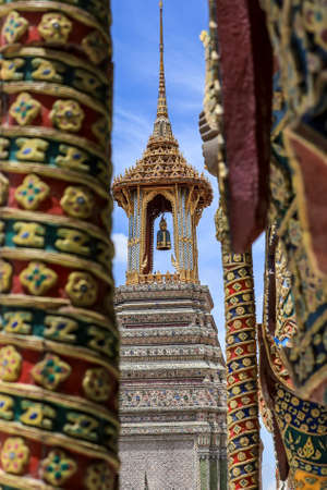Phra Nakhon District,Bangkok,Thailand on June10,2020:Beautiful art and architecture of the Belfry at Wat Phra Kaew (Wat Phra Si Rattana Satsadaram).
