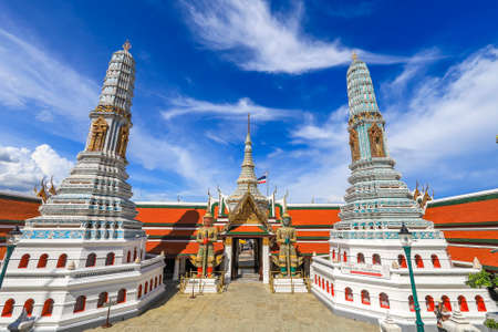 Phra Nakhon District,Bangkok,Thailand on June10,2020:Beautiful art and architecture of Wat Phra Kaew (Wat Phra Si Rattana Satsadaram).