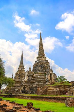 Phra Nakorn Si Ayutthaya,Thailand on July 8,2020:Wat Phra Si Sanphet in Ayutthaya Historical Park,a UNESCO World Heritage Site. 에디토리얼