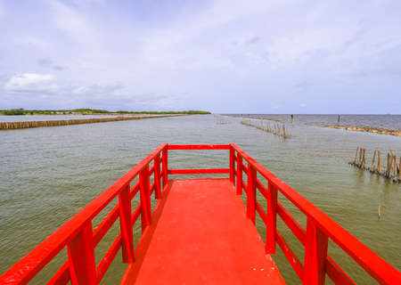 Red Boardwalk Bridge as a viewpoint near Matchanu Shrine,Samut Sakhon,Thailand.