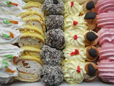 cakes background: Conjunto de pasteles de crema de fondo