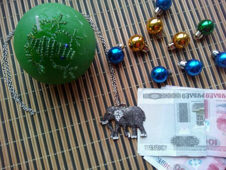 decor: Christmas balls,frog and elephant decor
