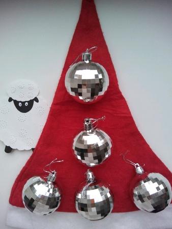 silver: Christmas decorations sheep and balls