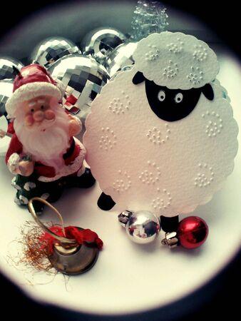 silver: Christmas decorations sheep,santa claus and balls