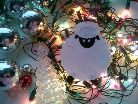 silver: Christmas decorations sheep and balls lights